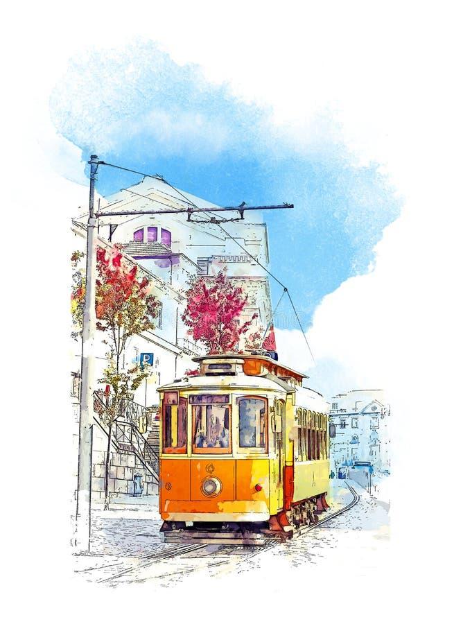 Bonde velho em Lisboa, Portugal Esboço da aquarela ilustração do vetor