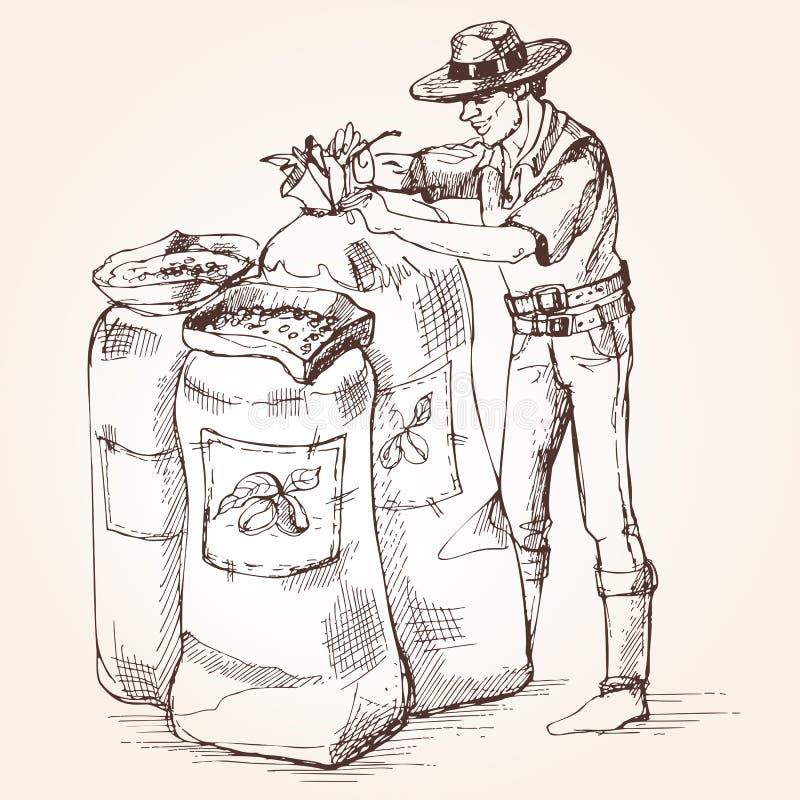 Bondeband en påse av kaffebönor royaltyfri illustrationer