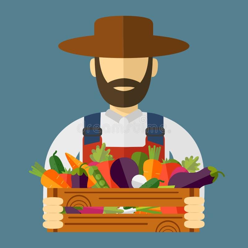 Bondehatt, valda grönsaker Vektorillustration, symbol stock illustrationer