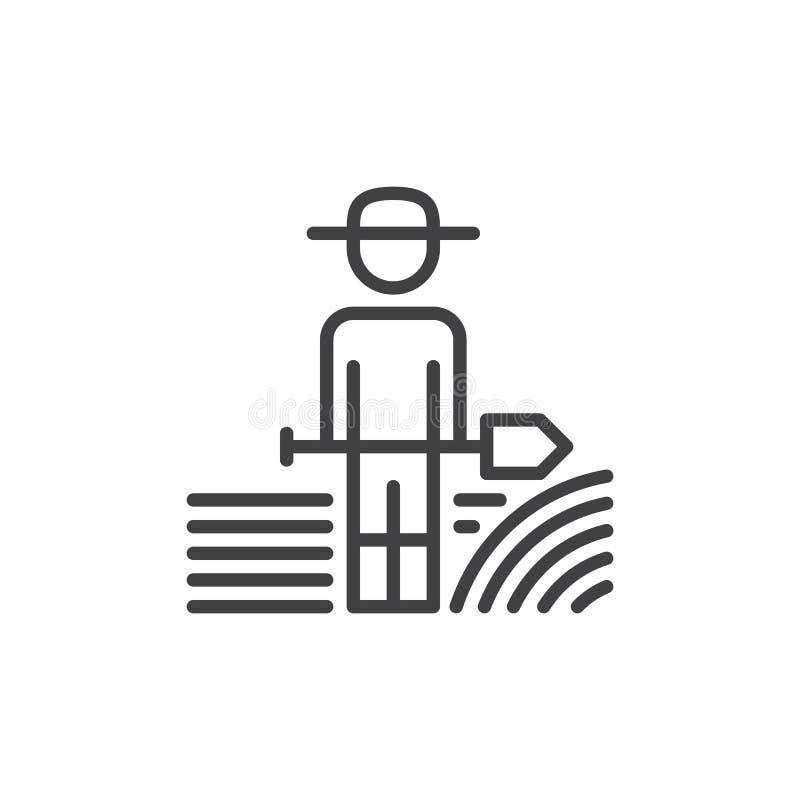 Bondeman med skyffellinjen symbol, översiktsvektortecken, linjär stilpictogram som isoleras på vit Symbol logoillustration Editab royaltyfri illustrationer