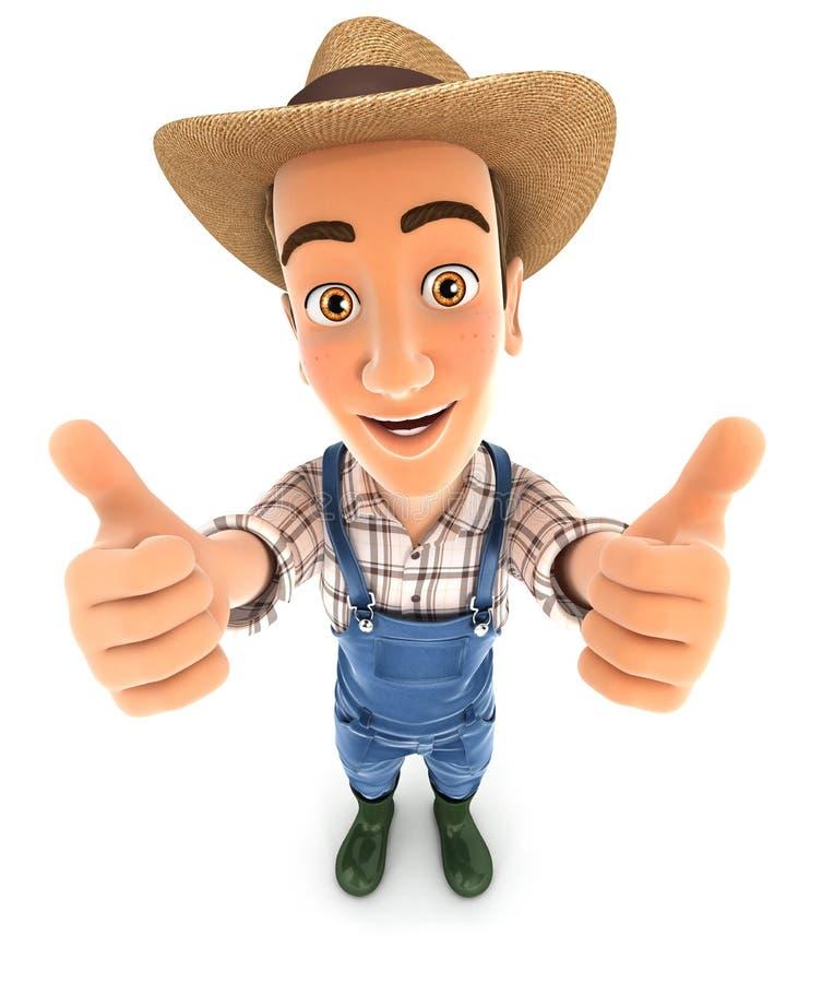 bonden 3d tummar upp stock illustrationer