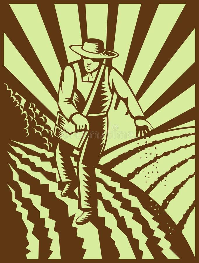 bonden kärnar ur sådd vektor illustrationer