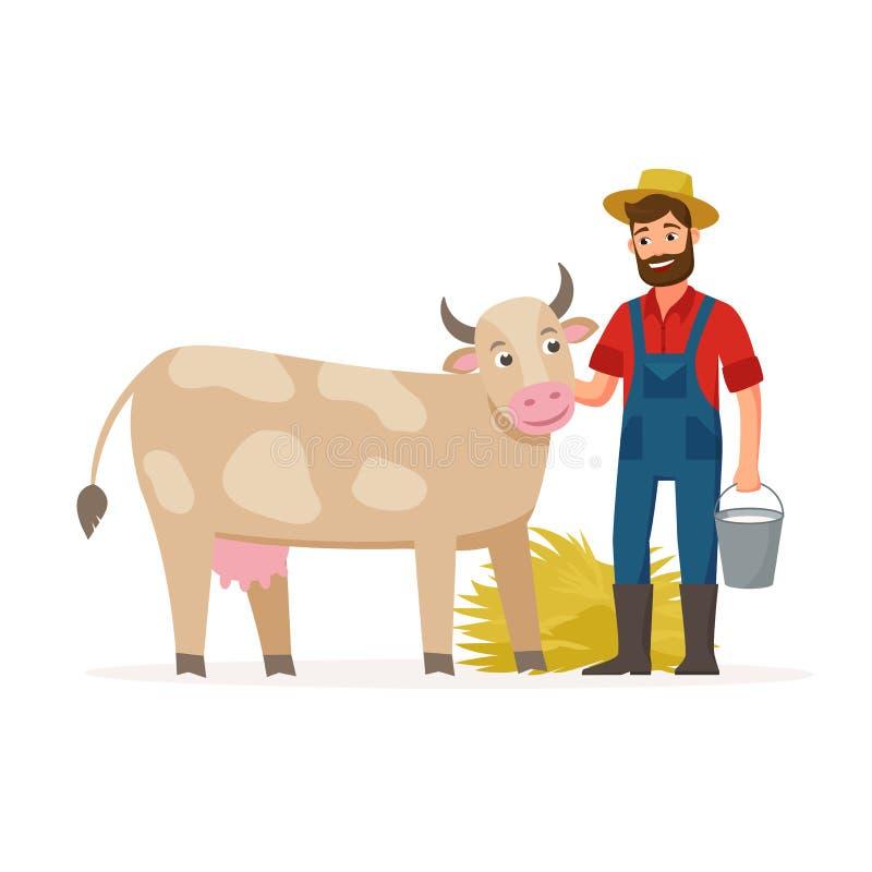 Bonden med en ko och hinken med mjölkar och hö Illustration för lantbrukbegreppsvektor i plan design Lycklig bonde och stock illustrationer