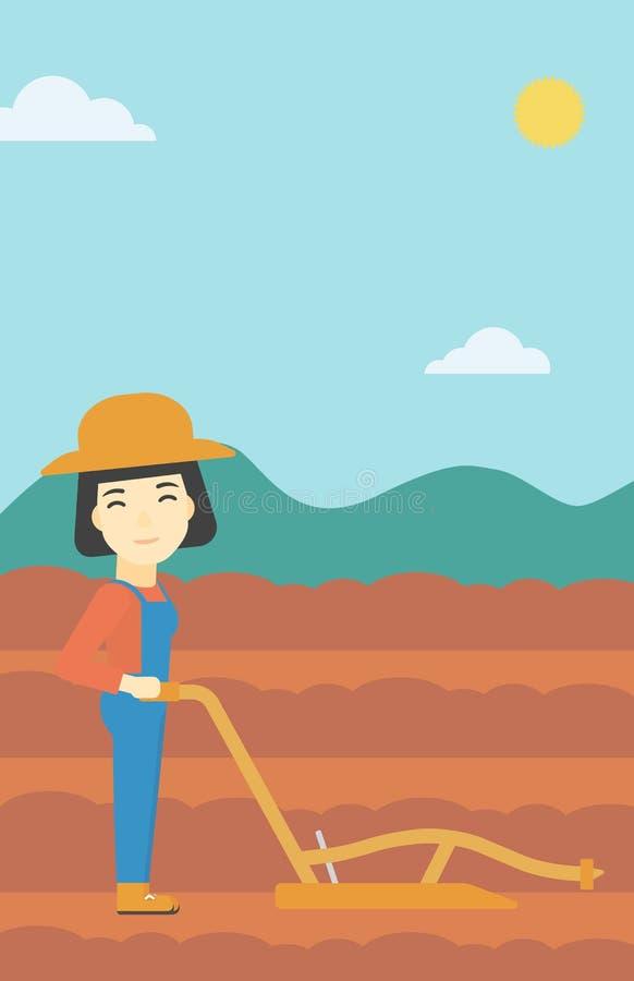 Bonden på fältet med plöjer vektor illustrationer