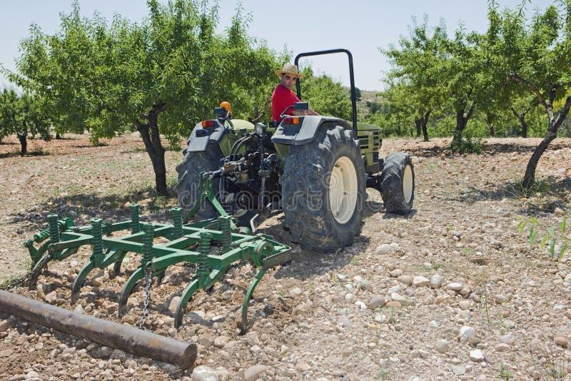 BondePlowing Field With traktor royaltyfria bilder