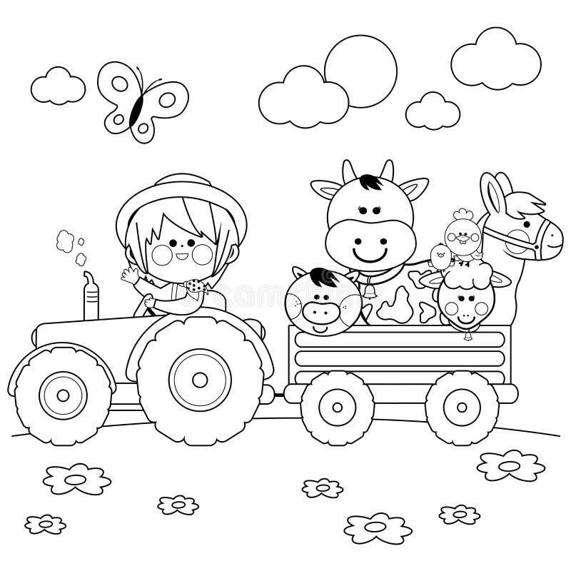 Bondepojke som kör en traktor och bär lantgårddjur Svartvit sida för färgläggningbok stock illustrationer