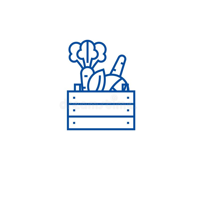 Bondeproduktlinje symbolsbegrepp Symbol för vektor för bondeprodukter plant, tecken, översiktsillustration vektor illustrationer