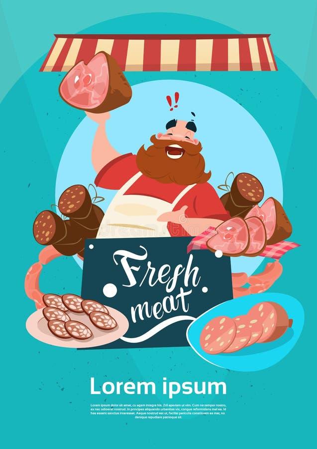 BondeSell Pork Meat produkter på Eco brukar den organiska marknaden stock illustrationer