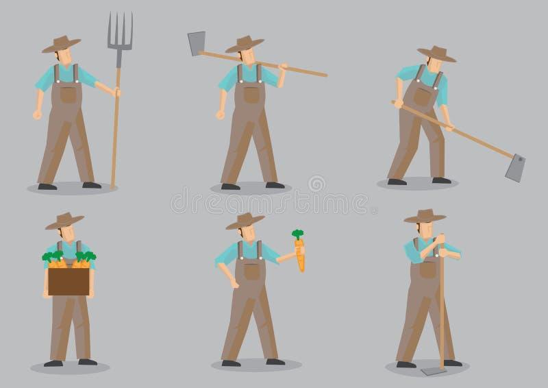 BondeVector Cartoon Character uppsättning royaltyfri illustrationer