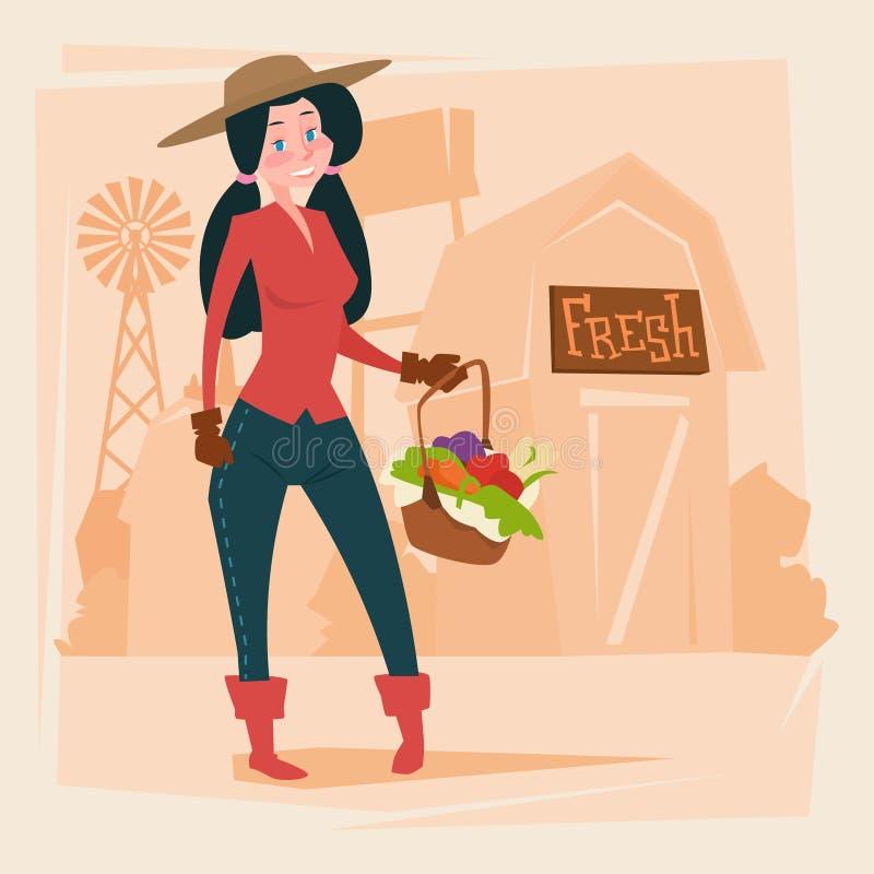 BondeWoman Gather Harvest Eco lantbruk vektor illustrationer
