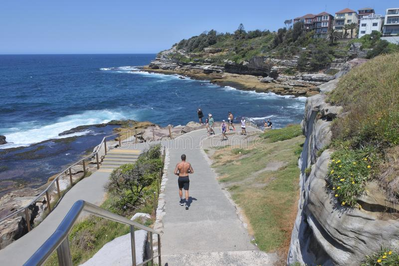 Bondi aan Coogee-gang Sydney New South Wales Australia stock foto's