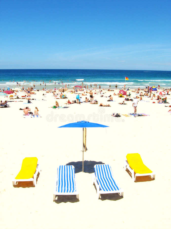 Bondi Beach chairs stock photography