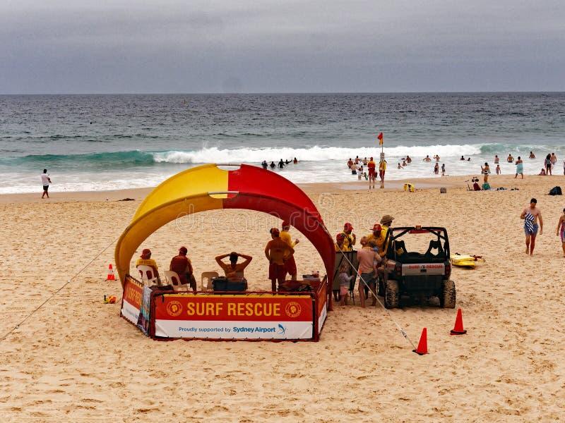 Bondi Beach Life Savers on an Overcast Summer Morning, Sydney, Australia. Life savers or guards, surf rescue, at the yellow sand Bondi Beach, Sydney, NSW royalty free stock image
