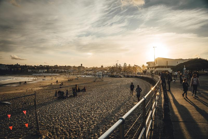 Sunset over Bondi beach on a cold winter afternoon. stock photo