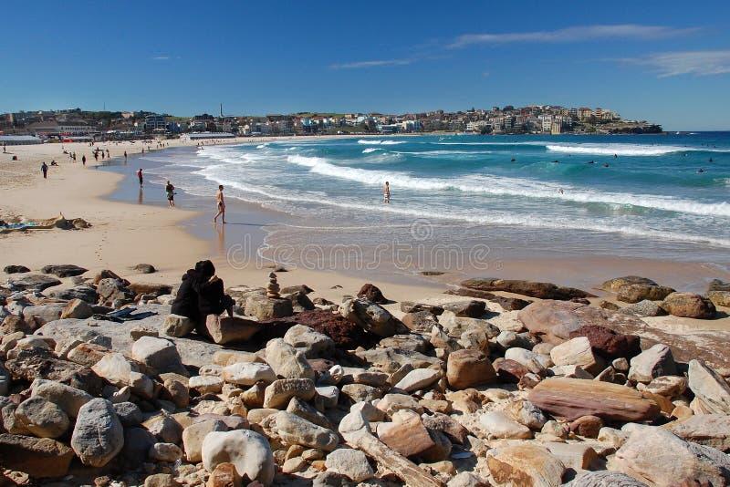 Bondi Beach with people, Sydney. Bondi Beach in Sydney with people swimming royalty free stock photos