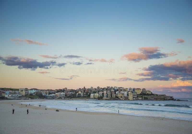 Bondi beach at sunset in sydney australia royalty free stock photography