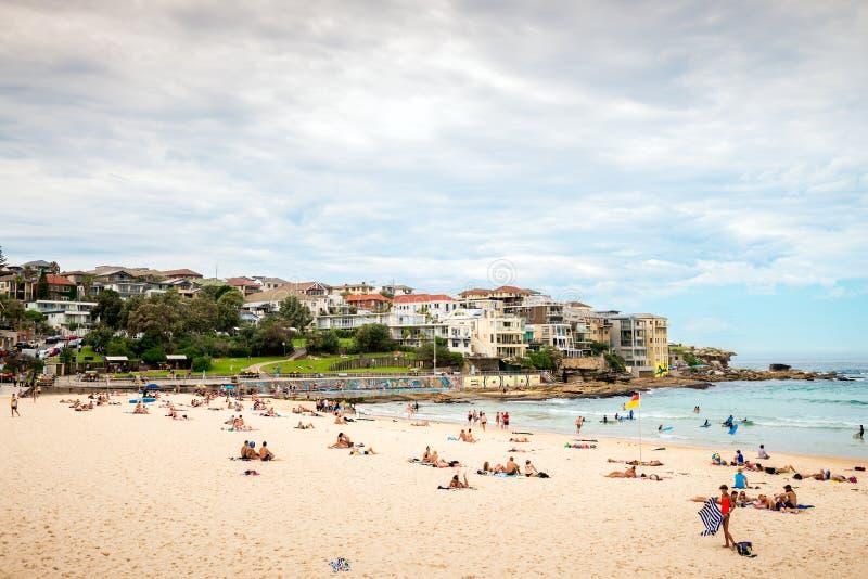 Bondi Beach, Sydney. Sydney, Australia - November 6, 2015: People at the Bondi Beach on a day. Bondi beach is one of the most famous tourist sites in Australia stock image