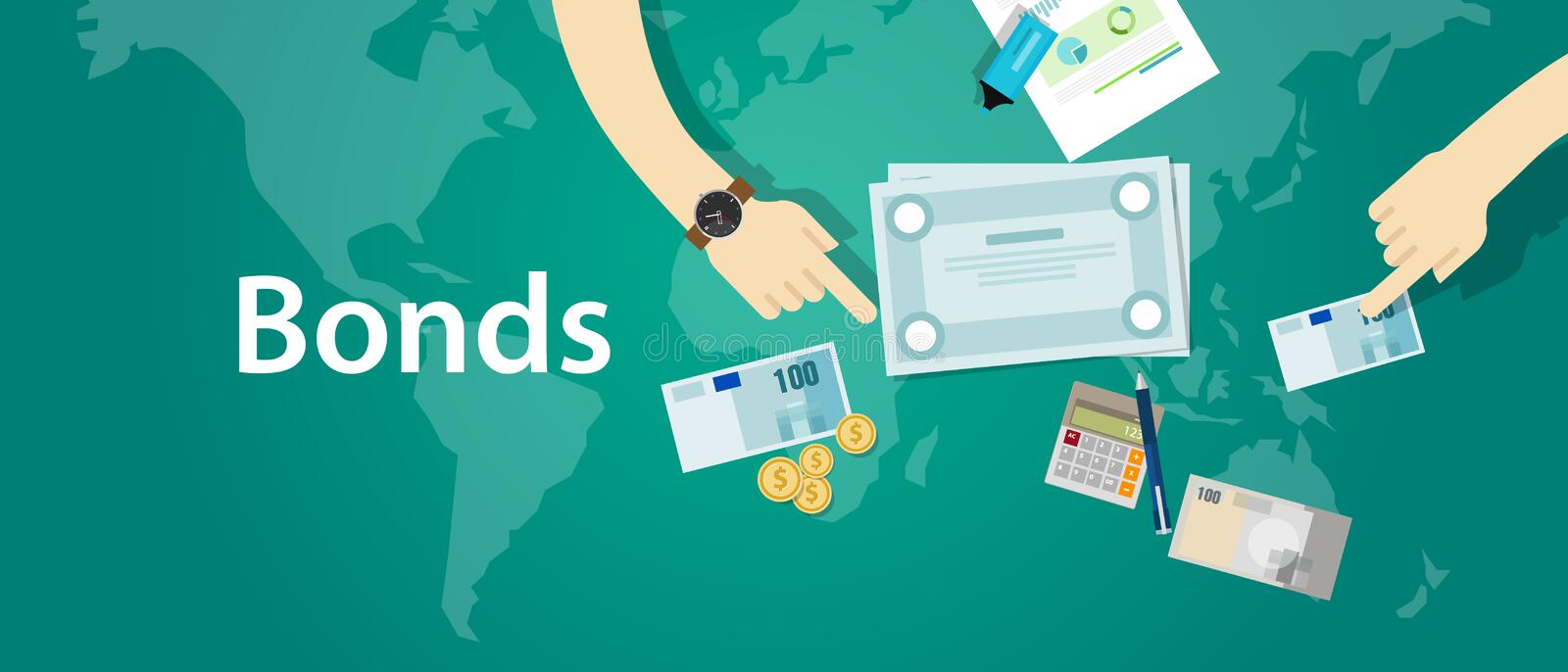 Bonds company corporate funds financing royalty free illustration