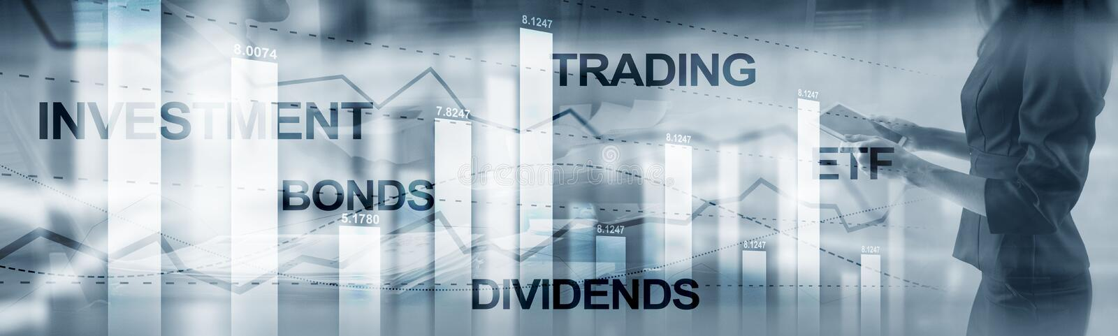 Bonds dividends concept. Abstract Business Finance Background Banner.  stock image