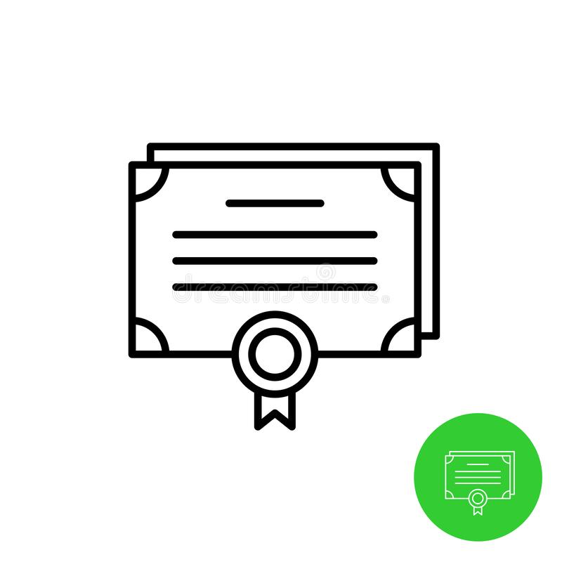 Bonds outline icon. Stock share certificate market symbols. Document sheets with seal royalty free illustration