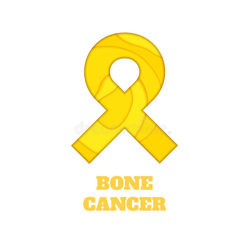 Bone cancer awareness papercut ribbon. Bone cancer awareness poster. Yellow ribbon made in 3D paper cut and craft style on white background. Medical concept stock illustration