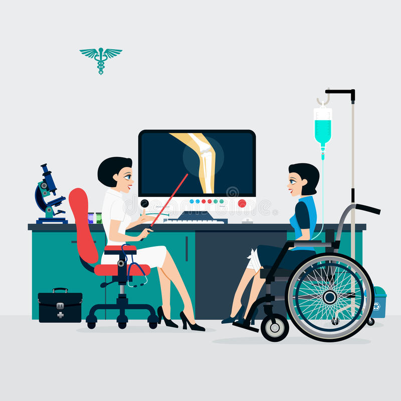 Bone Doctor. Medicine shows that patients with bone fractures to understand stock illustration