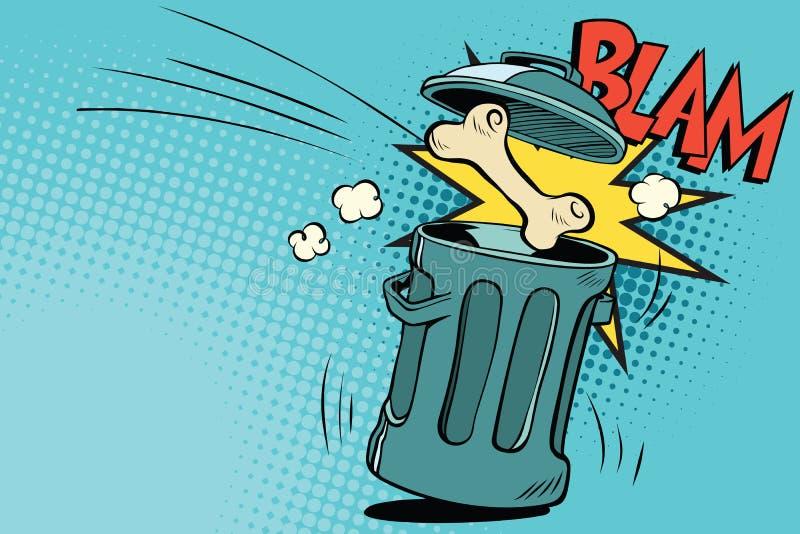 Bone dog flies in the trash royalty free illustration