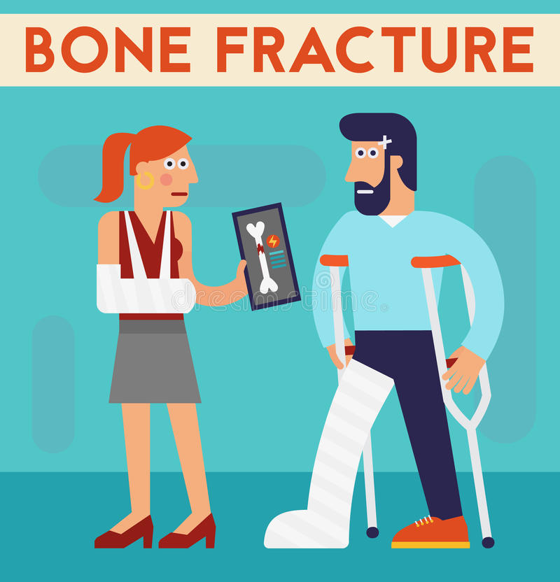 Bone fracture vector character cartoon illustration vector illustration