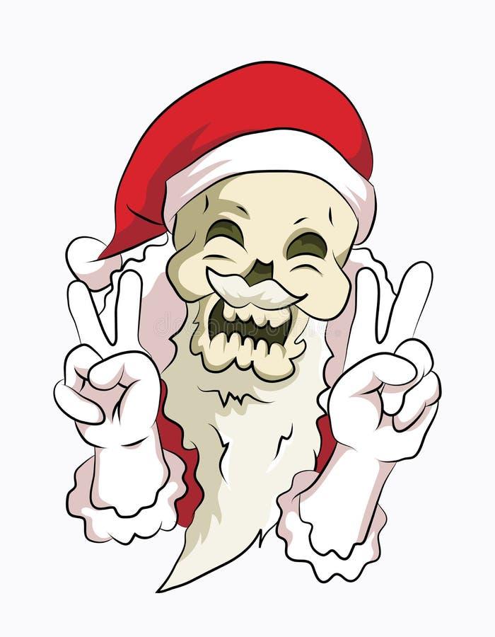 Bone head santa peace pose. Bone head wear santa clause costume smile with peace pose royalty free illustration