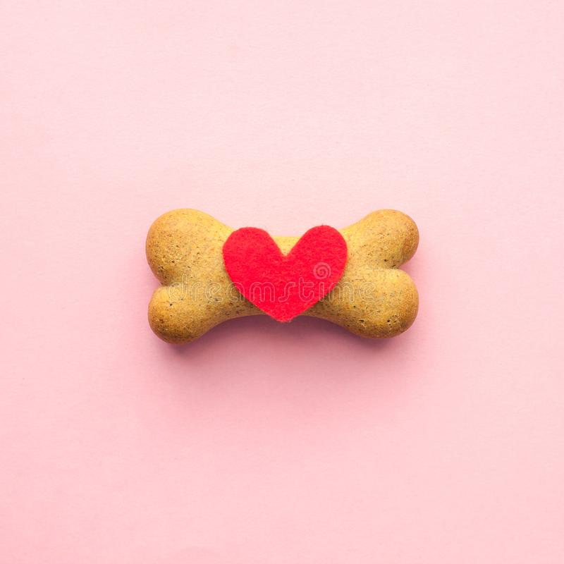 Bone-shaped biscuit for dog and red heart on pink background, concept pet care royalty free stock image