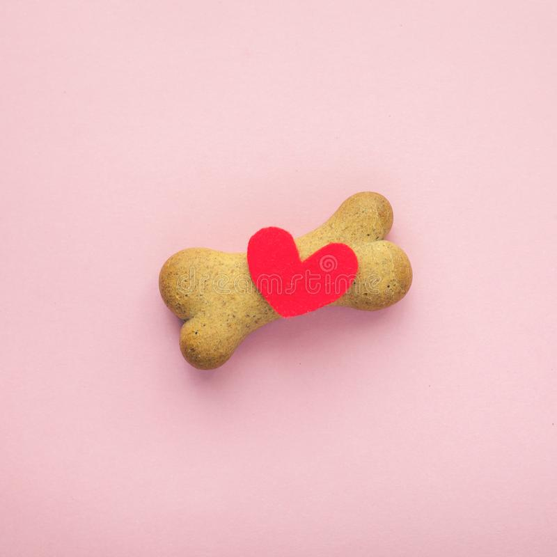 Bone-shaped biscuit for dog and red heart on pink background, concept pet care. royalty free stock photos