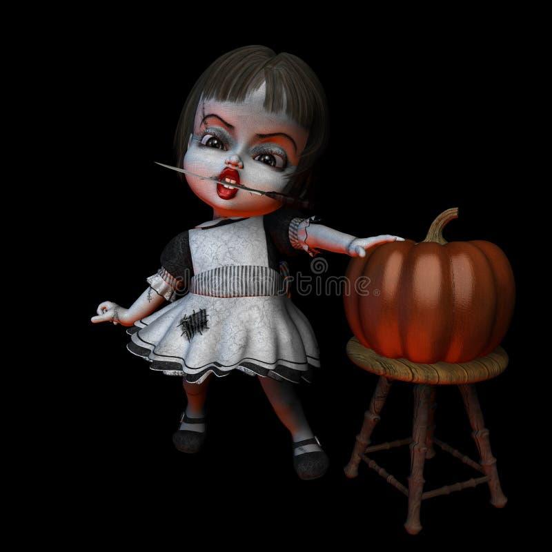 Boneca 6 de Halloween - faca ilustração do vetor