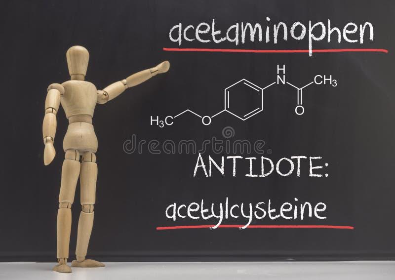 A boneca articulada ensina em uma ardósia o envenenamento do paracetamol no sangue, o antídoto é o acetylcysteine fotografia de stock royalty free