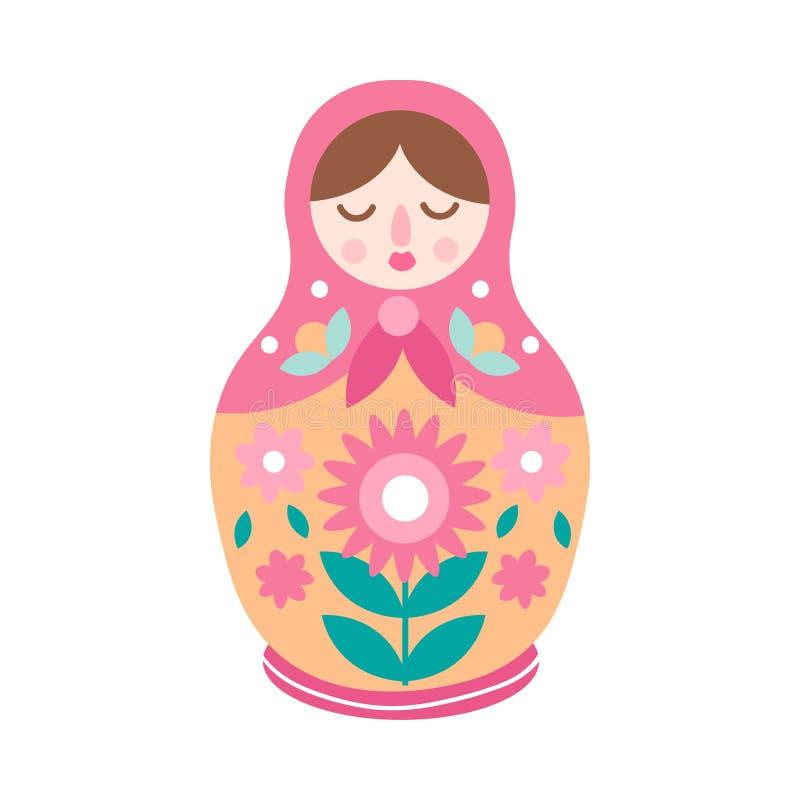 Boneca bonito colorida de tiragem do aninhamento, estilo decorativo ilustração royalty free