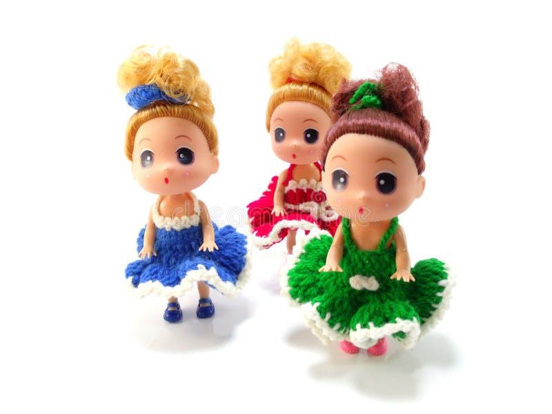 Boneca bonito do bebê com confecção de malhas colorida fotografia de stock royalty free