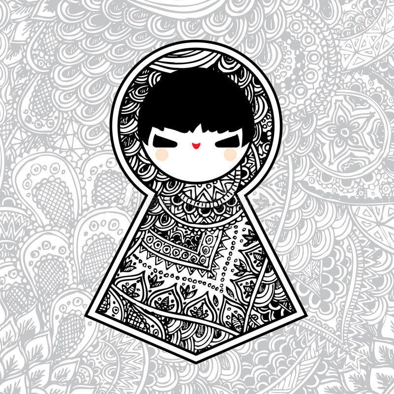 Boneca bonito geométrica de Babushka Matryoshka do vetor imagem de stock