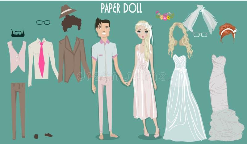 Boneca da menina dos desenhos animados com roupa para mudanças ilustração royalty free