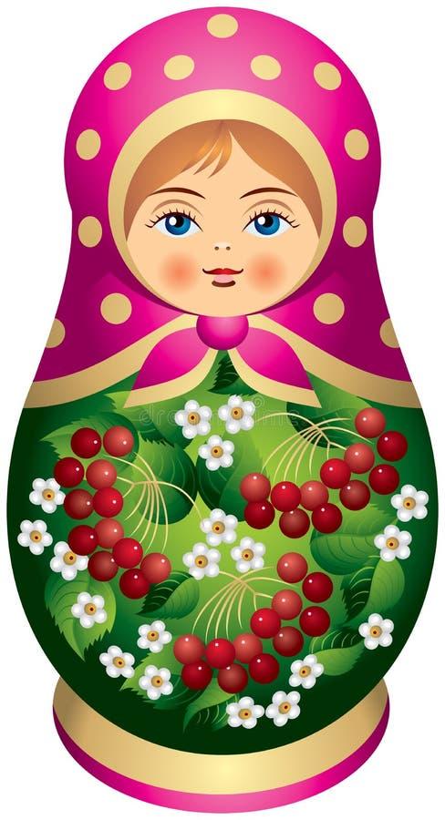 Boneca de Matryoshka com bagas vermelhas ilustração do vetor