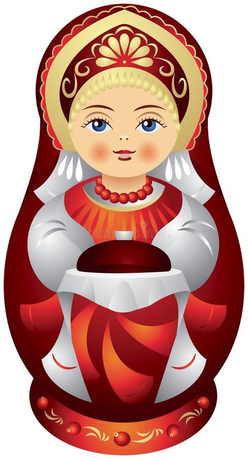 Boneca de Matryoshka com o pão e o sal ilustração royalty free
