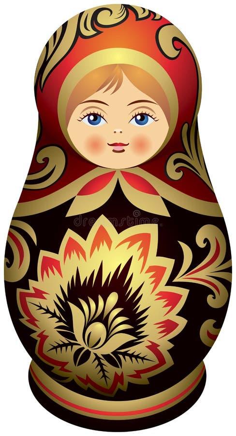 Boneca de Matryoshka com os ornamen dourados de Khokhloma ilustração royalty free