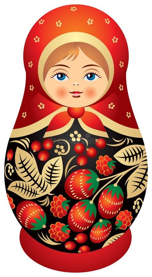 Boneca de Matryoshka no estilo de Khokhloma ilustração royalty free