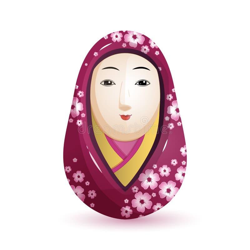 Boneca de Onna Daruma Japanese em um quimono roxo com um teste padrão da cereja Ilustração do vetor no fundo branco ilustração do vetor
