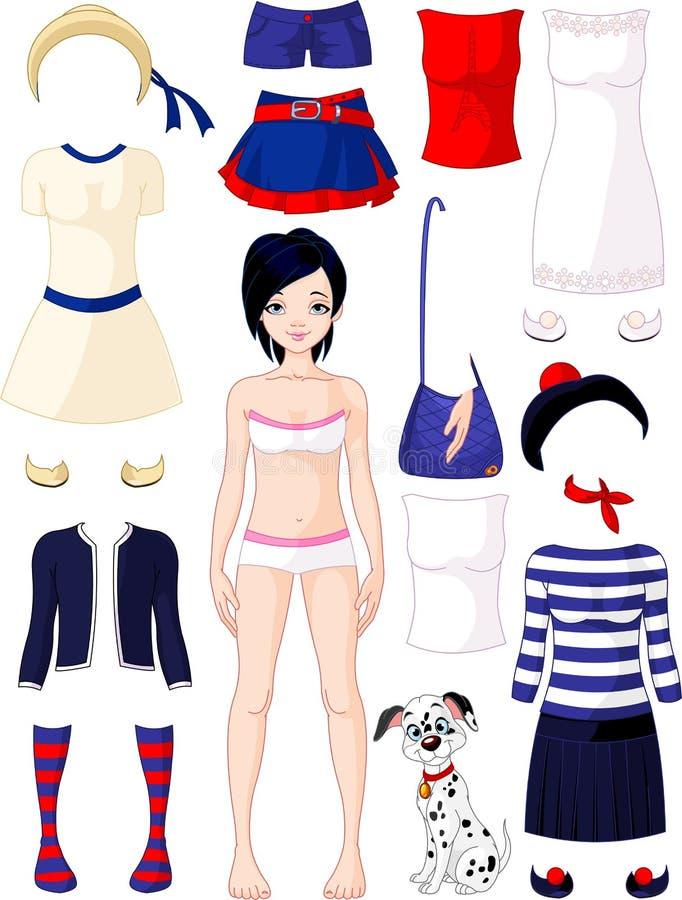 Boneca de papel com roupa ilustração stock