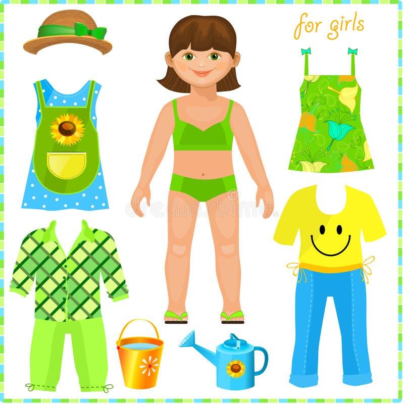 Boneca de papel com um grupo de roupa. Menina bonito. ilustração stock