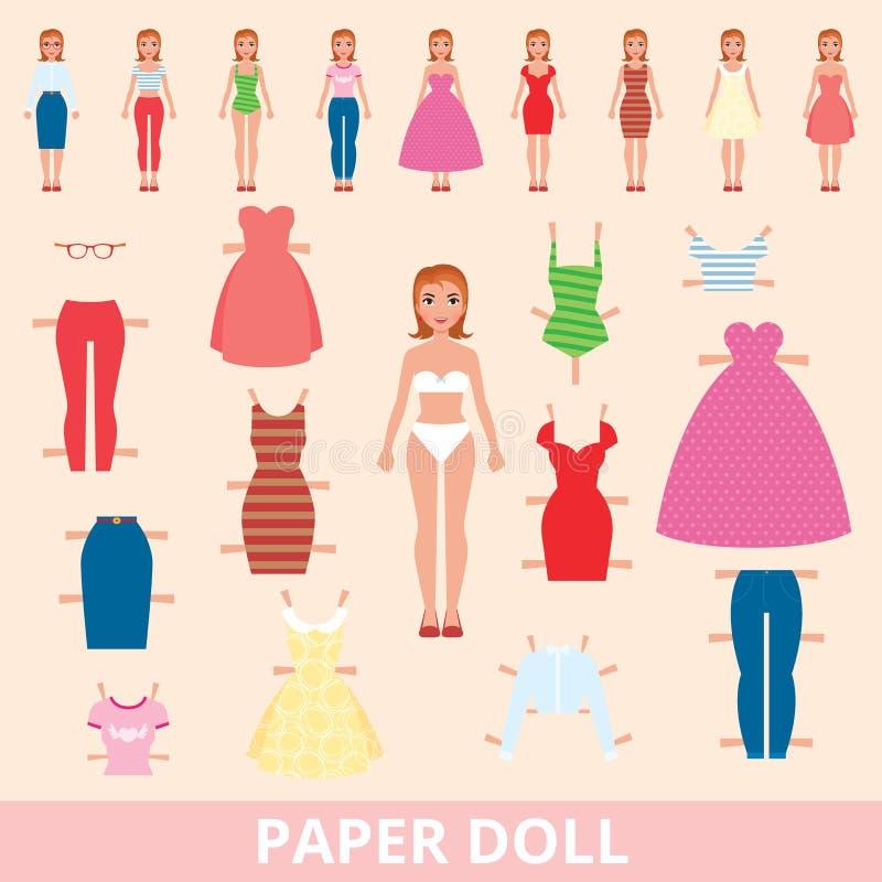 Boneca de papel e um grupo de forma diferente para cortar ilustração stock
