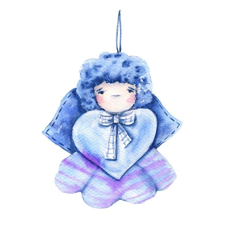 Boneca do anjo para o dia do ` s do Valentim Isolado em um fundo branco Ilustração da aguarela ilustração royalty free