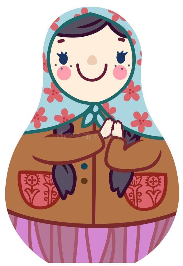 Boneca do matryoshka dos desenhos animados do vetor no sorriso floral do lenço ilustração stock
