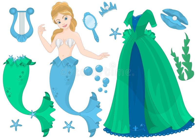 Boneca do papel da rainha do mar ilustração do vetor