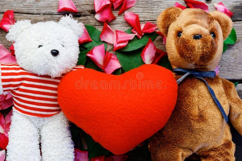 A boneca do urso de dois brinquedos tem a queda no amor com fundo das pétalas de Rosa foto de stock royalty free