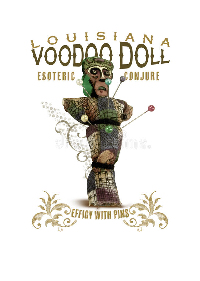 Boneca do vudu da coleção da cultura de Nova Orleães ilustração do vetor